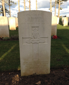 Serjeant S. Barber, Royal Artillery. Died 2nd August 1944, Age 30.
